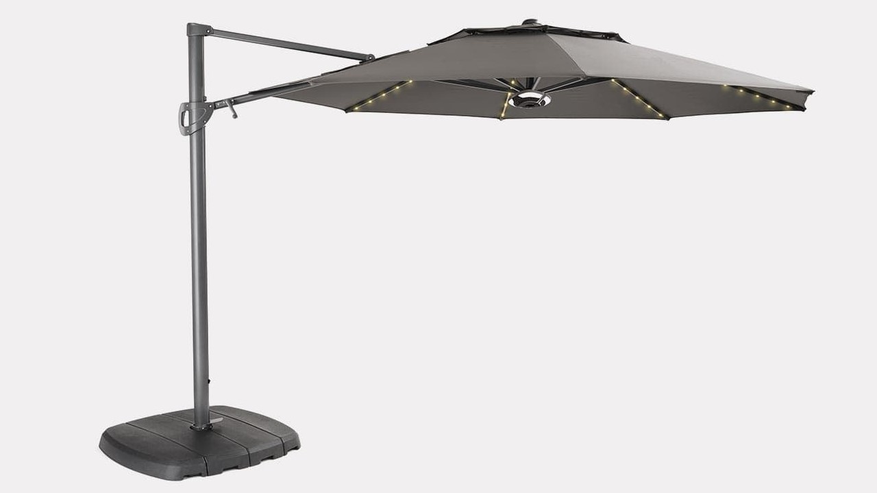 Kettler 3.3m Free Arm Parasol with LEDs & Speakers - Grey / Taupe