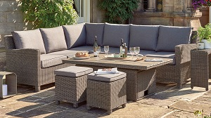 "Kettler Palma Height Adjustable Right Hand ""S-Q"" Table Set - Rattan 