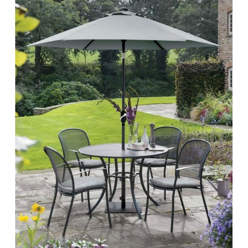 Kettler Caredo 4 Seat Dining Set with Parasol - Slate