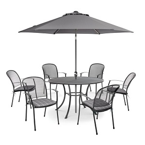Kettler Caredo 6 Seat Dining Set with Parasol - Slate  Local Delivery Only