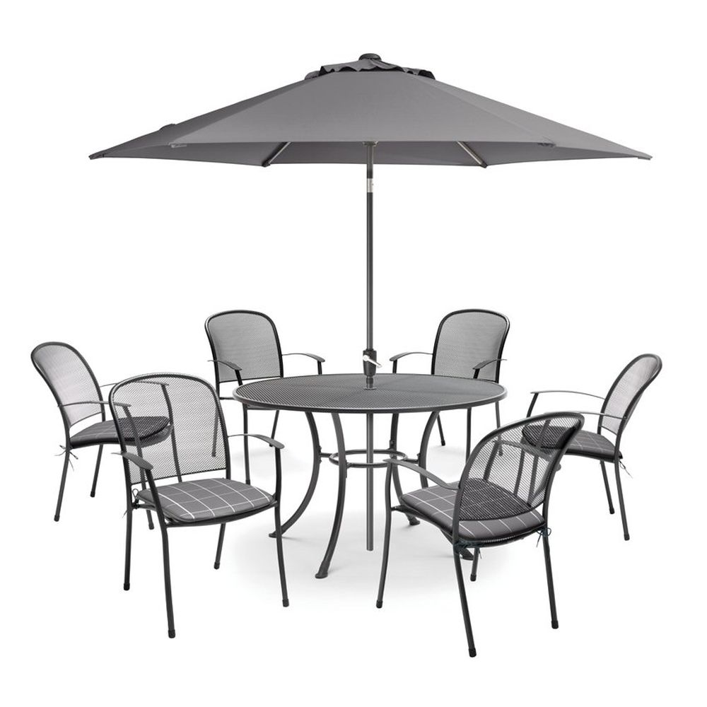 Kettler Caredo 6 Seat Dining Set with Parasol - Slate