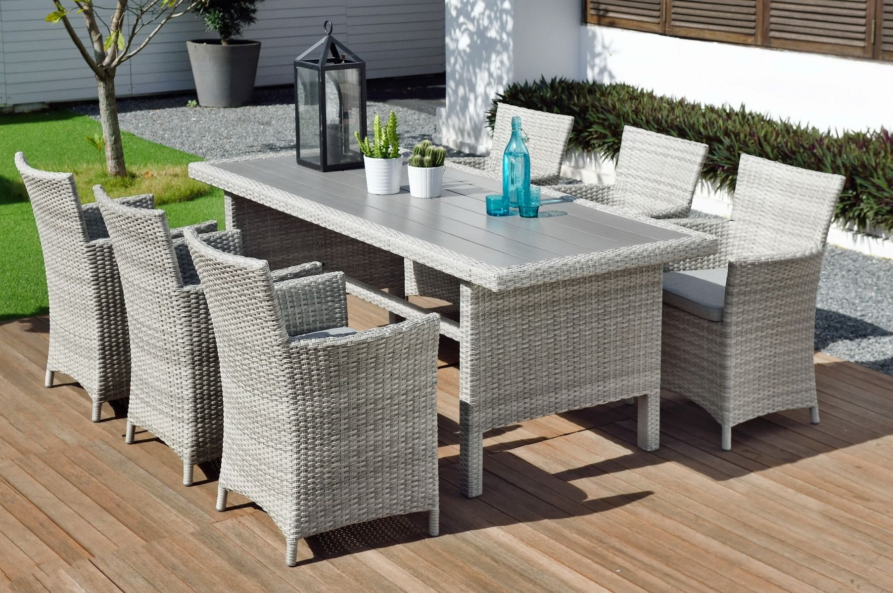 LifestyleGarden Aruba 6 Seat Rectangular Table Set | Local Delivery Only