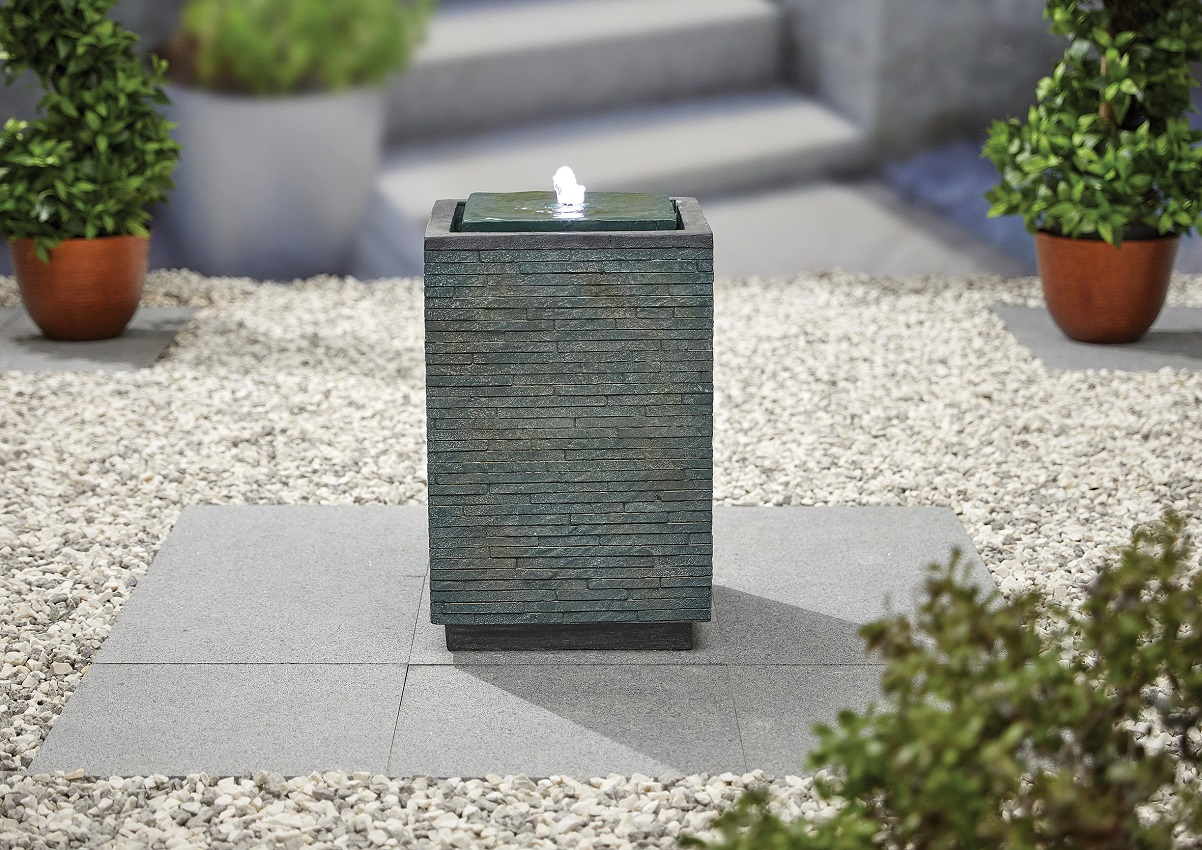 Mosaic Cube inc LEDs - Kelkay Water Feature
