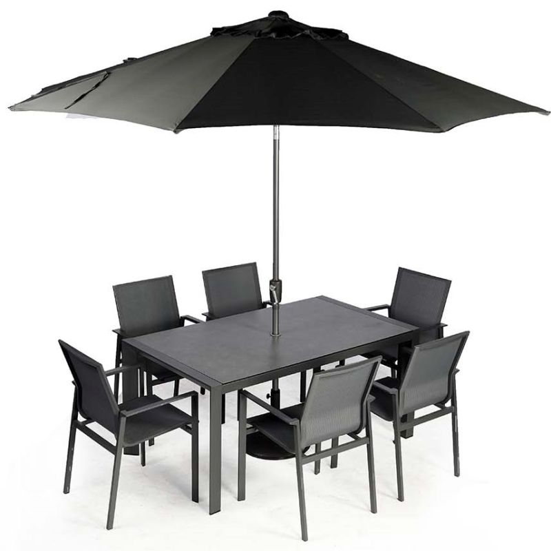 Supremo Portobello 6 Seat Set with Parasol | Local Delivery Only